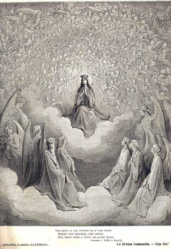 Santa Maria Vergine al centro della Candida Rosa, illustrazione di Gustave Doré