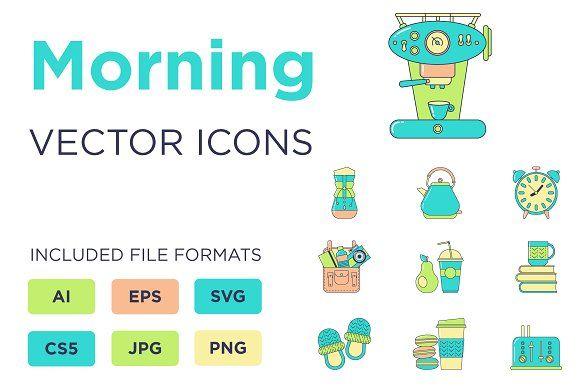 Morning Icons Set by by masha on @creativemarket