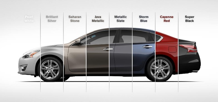 The 2013 Nissan Altima comes in 8 colors: Pearl White, Brilliant Silver, Saharan Stone, Java Metallic, Metallic Slate, Storm Blue, Cayenne Red and Super Black