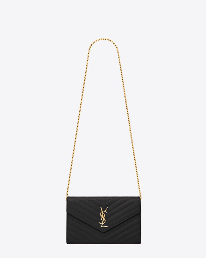 saintlaurent, Monogram Saint Laurent Chain Wallet in Black Grain de Poudre Textured matelassé Leather