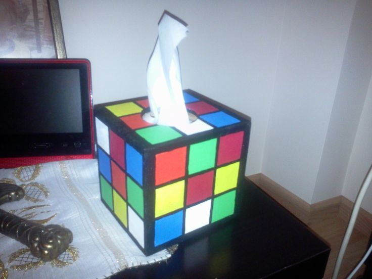 Wooden Rubik's cube tissue box for my love!