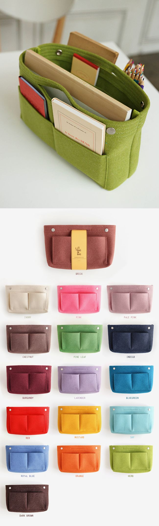 The best way to organize your cluttery mess of a bag is with this beautifully made, organizer's dream Felt Purse Organizer. It's lightweight and perfect for big purses and tote bags that need extra help with keeping things together!