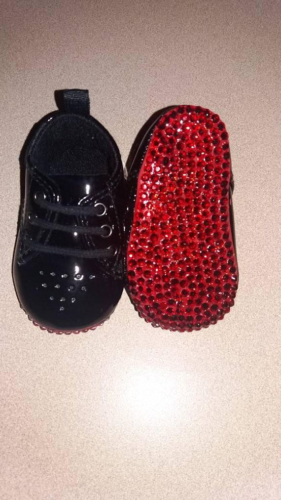 75370c75b5c Boy Black and Red baby shoes/Baby Louboutins Inspired/Wedding ...