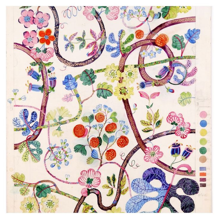 "This week, Svenskt Tenn re-launched Josef Frank's classic ""Baranquilla"" print, here shown both as original sketch and finished textile result. #svenskttenn #svenskttenn_baranquilla"