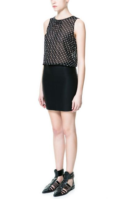 COMBINATION DRESS WITH POLKA DOTS AND FAUX LEATHER SKIRT from Zara