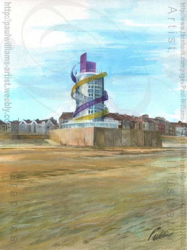 Redcar Vertical Pier painting 2 (Amusements) Redcar Vertical pier is a new structure being built on the Redcar sea front.  The 80ft (24m) high structure will be the centrepiece of a £30m regeneration of Redcar seafront.  The structure is part of a wider regeneration programme which includes new sea defences being built by the Environment Agency and improvements to the Redcar promenade.