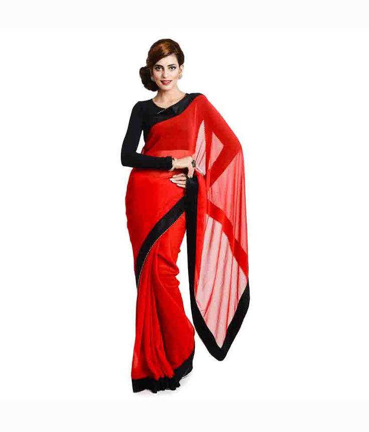 Aaditri Fashions Red Georgette Saree