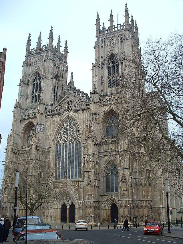 The west front of York Minster is a fine example of Decorated architecture, in particular the elaborate tracery on the main window. This period saw detailed carving reach its peak, with elaborately carved windows and capitals, often with floral patterns.