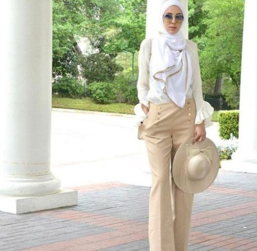 Beige palazzo pants hijab-Spring casual outfits for hijabi women – Just Trendy Girls