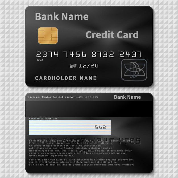 Realistic Black Bank Plastic Credit Card With Chip Template Isolated Credit Plastic Card Bank Personal Cardholder Name Credit Card Design Credit Card App Mobile Credit Card