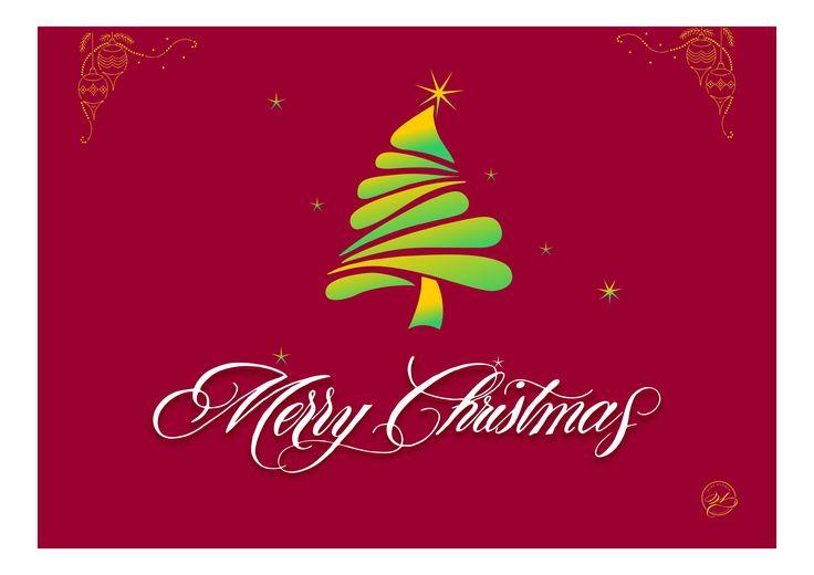 Merry Christmas, Christmas greeting card with calligraphy / Weihnachtskartendesign mit kalligrafischem Schriftzug