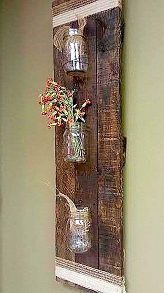Just love this! Rustic Pallet Wood Mason Jar Storage Wall Hanging by TeddysRoom, $42.00