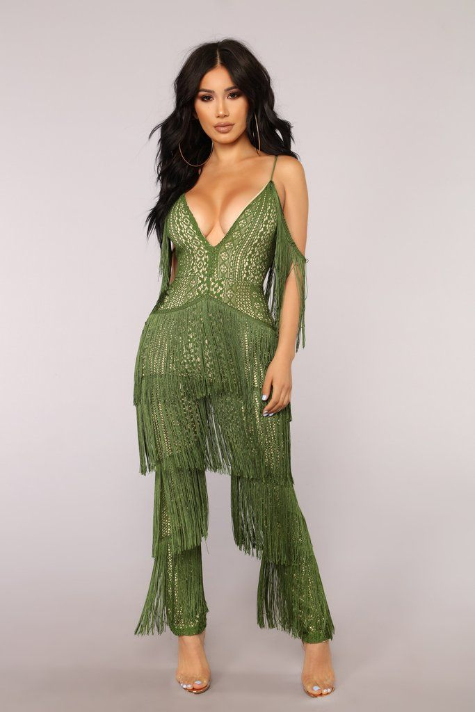 68c86778cdd7 The Way You Walk Fringe Jumpsuit - Green