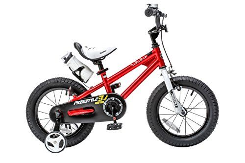 RoyalBaby BMX Freestyle Kids Bike, Boy's Bikes and Girl's Bikes with training wheels, Gifts for children, 16 inch wheels, Red