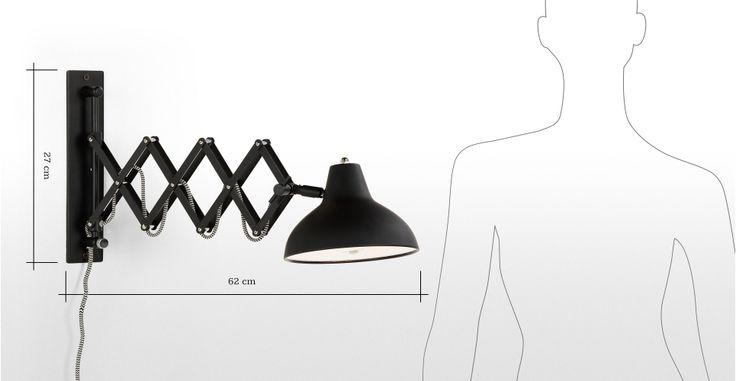 Frosini wandlamp, in zwart | made.com