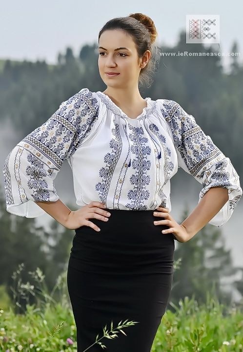 delicate, hand embroidered Romanian Blouse