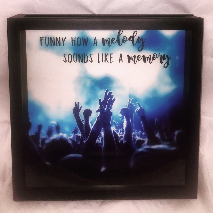 12x12 Concert Ticket Shadow Box, Ticket Stub Box, Music Lover Shadow Box, Funny How a Melody Sounds Like a Memory, Eric Church by ReminisceInStyle on Etsy https://www.etsy.com/listing/528042344/12x12-concert-ticket-shadow-box-ticket