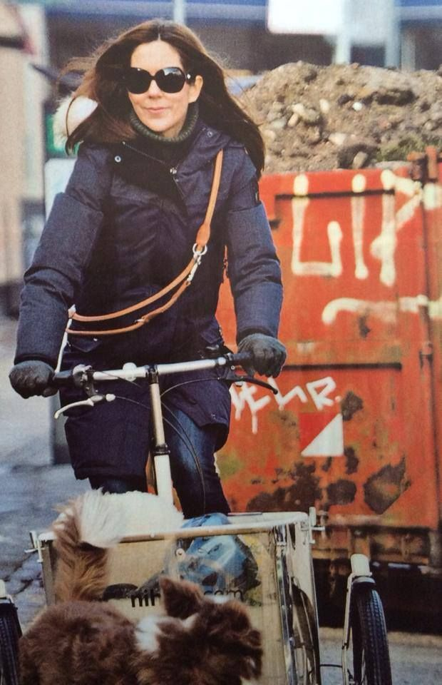 Crown Princess Mary out bicycling in Copenhagen with Ziggy, 5 February 2014