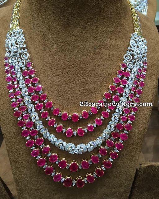 bd9c0a9fc79e89 Ruby Diamond Layers Long Set by Musaddilal | Jewelry | Jewelry ...