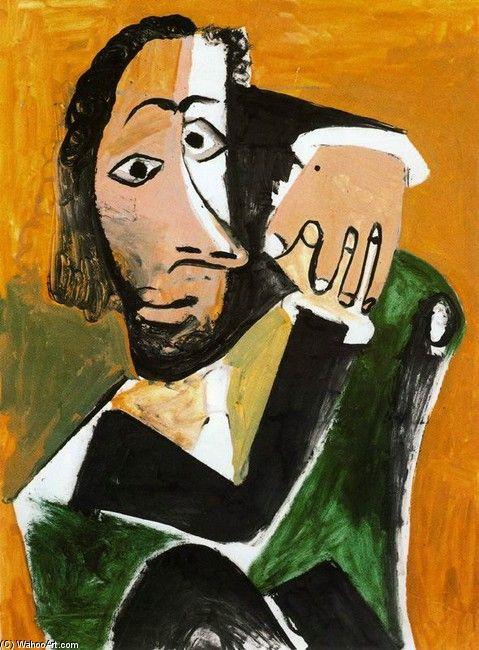 Pablo Picasso >> Hombre sentado  |  (oleo, obra de arte, reproducción, copia, pintura).