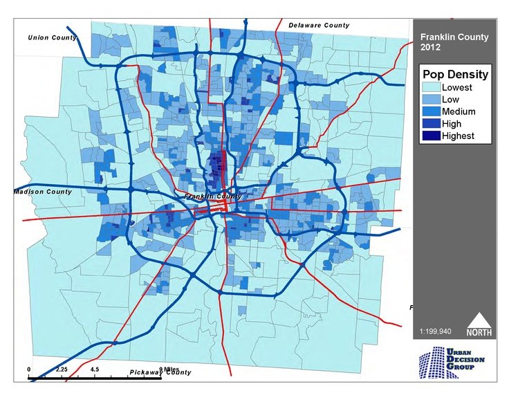 2012 Pop Density of Franklin County, OH