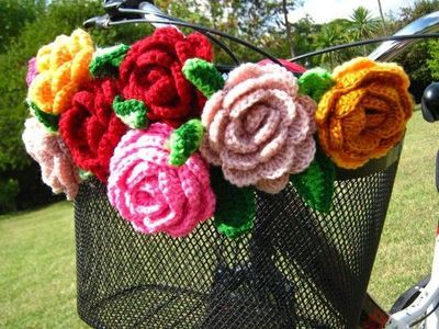 crocheted bicycle basket