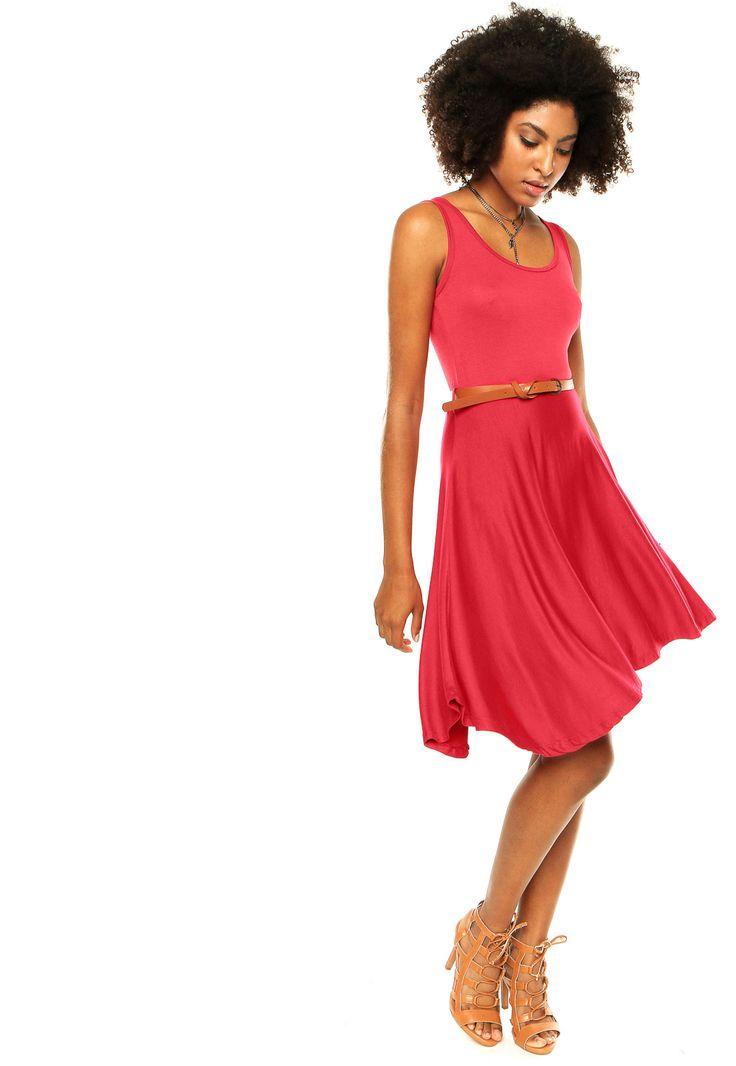 Vestido FiveBlu Viscolycra Cavado Com Cinto Vermelho - Compre Agora | Dafiti Brasil
