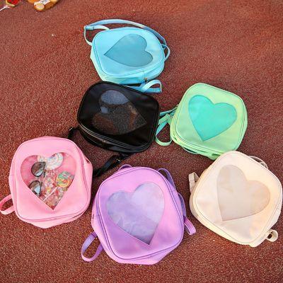 Transparent love heart backpacks | pink purple blue black green beige