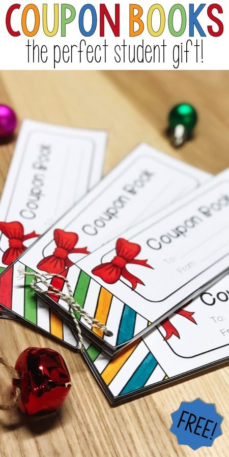 Looking for a simple holiday gift for your elementary students? Try a coupon book for a present!  This idea is perfect for Christmas or even as a birthday gift for your fourth, fifth or sixth grade students.  A FREE template to make the holidays stress-free and to save you (the teacher) time and money!