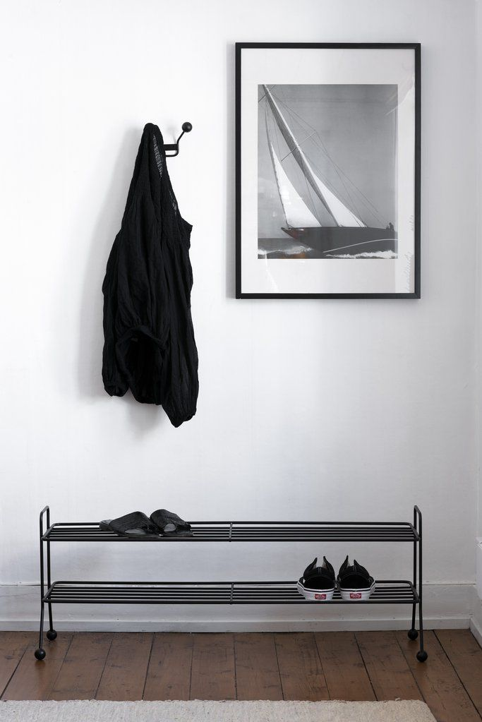 Bill Shoe Shelf fits perfectly in the hallway and store your shoes in an elegant way. Comes in white, black and grey.