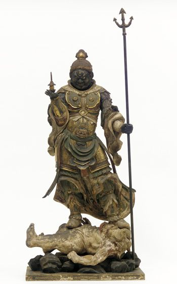 Japanese Art | Tamon-ten, Guardian of the North, one of a set of four Shitenno (Guardian Figures) | 1185-1333 | Kamakura period | Wood with polychrome and gilt, crystal-inlaid eyes | F1978.28