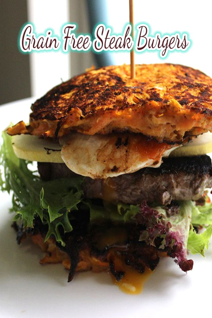 These grain free steak burgers are a real twist on your traditional wheat burgers.
