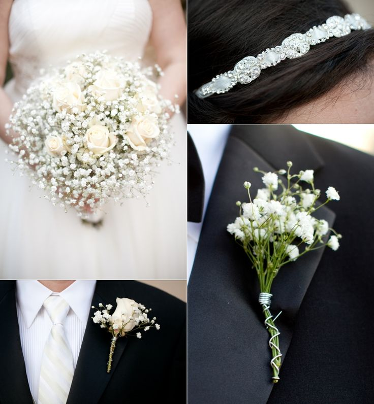 Bridal bouquet of ivory roses and babies breath with boutonnieres to match for the groom and babies breath for the groomsmen, dads, and ushers. Crafted by Heather of @Stems Atlanta
