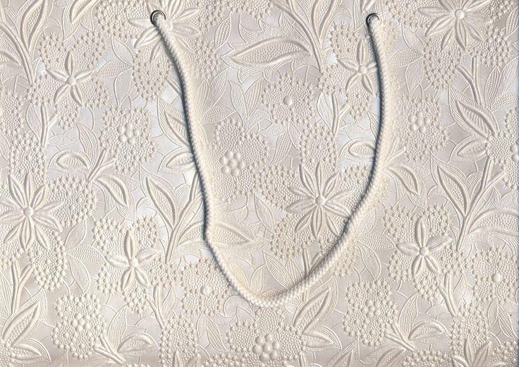 White Floral Embossed Large Bag