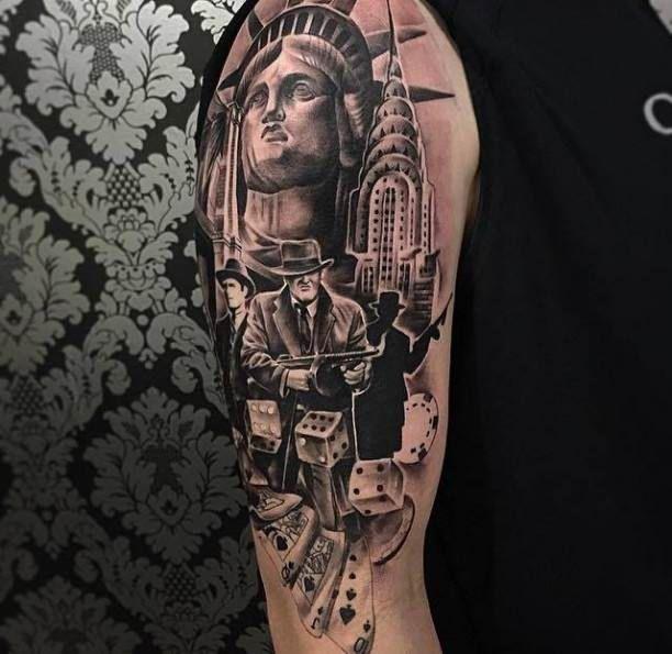 Upper Arm Player Tattoo Mafia  - http://tattootodesign.com/upper-arm-player-tattoo-mafia-2/  |  #Tattoo, #Tattooed, #Tattoos