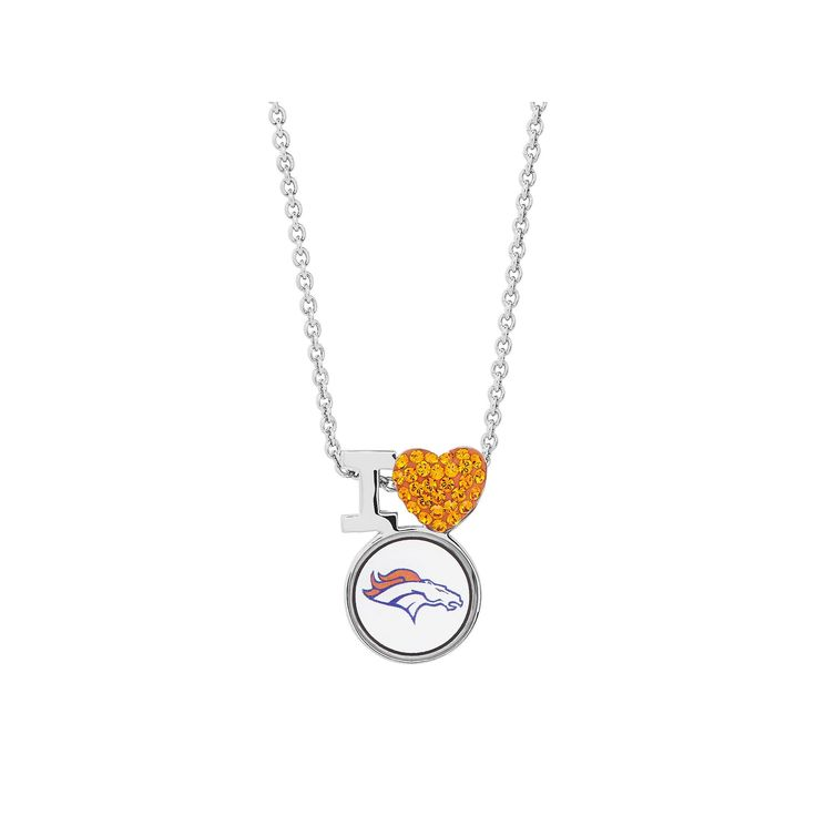 Sterling Silver Crystal I Love Denver Broncos Team Logo Heart Pendant, Women's, Orange