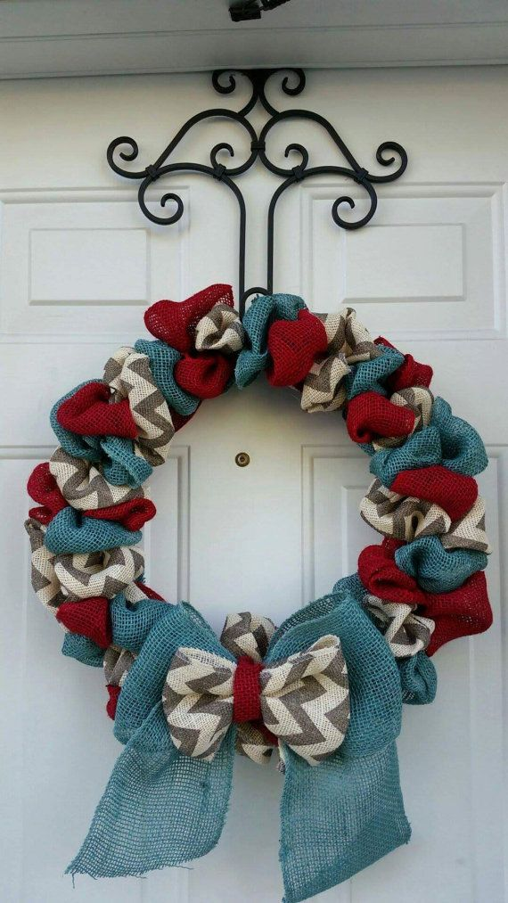 Red Blue and Chevron Burlap Wreath Burlap Wreath Red