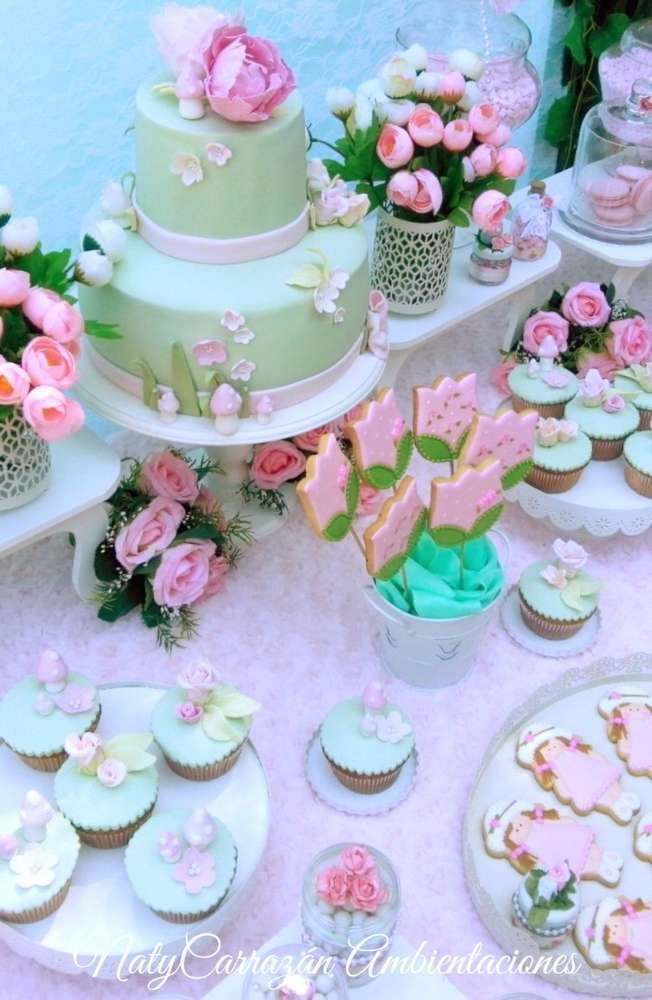 Now this is a beautiful Shabby Garden flower Birthday Party you do not want to miss. The cake, cupcakes and cookies are so pretty! See more party ideas and share yours at CatchMyParty.com