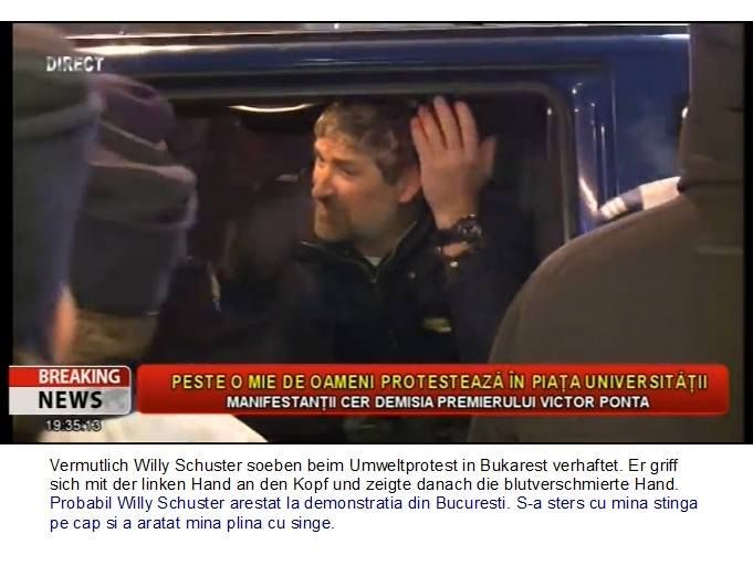 Willy Schuster (from Mosna, Sibiu) beaten by riot police, 15.12.13, Bucharest Romania