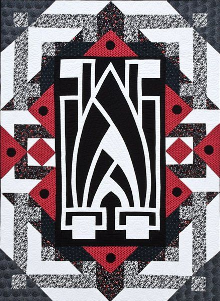 Red, Black and White Deco Quilt ,,,,   http://www.craftsy.com/blog/2013/09/art-deco-quilts   ,,,,,