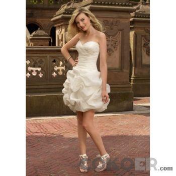 Korta-Brudklänningar-organza-strapless-sweetheart-urringning-korta-bröllopsklänningar