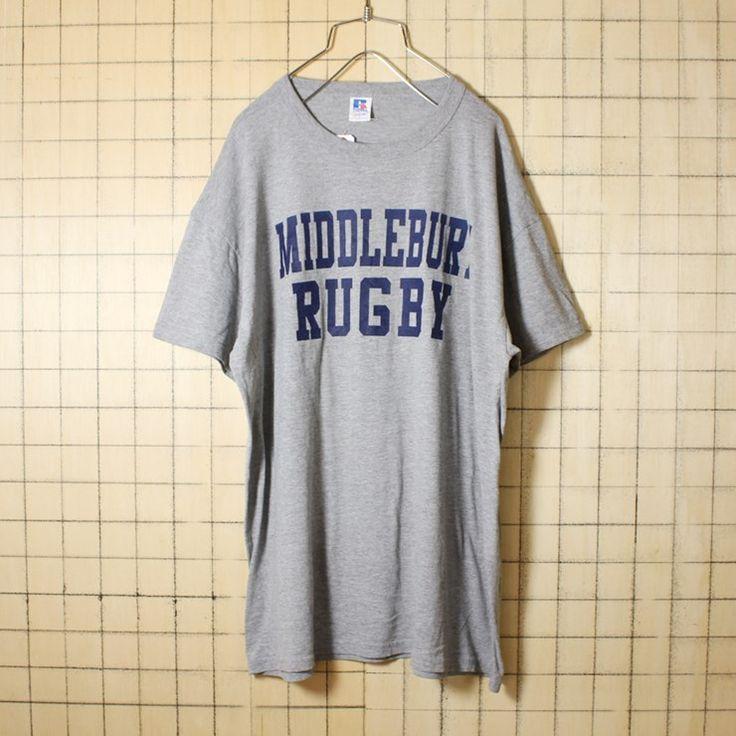 古着 霜降り 杢 グレー プリント Tシャツ 半袖 MIDDLEBURY RUGBY メンズL RUSSELL ATHLETIC