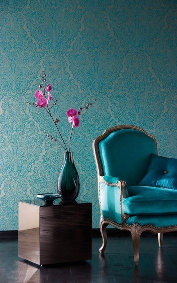 Wallpaper, chair and vase, nice example of modern and antique  http://www.arcreactions.com/escape-spa/