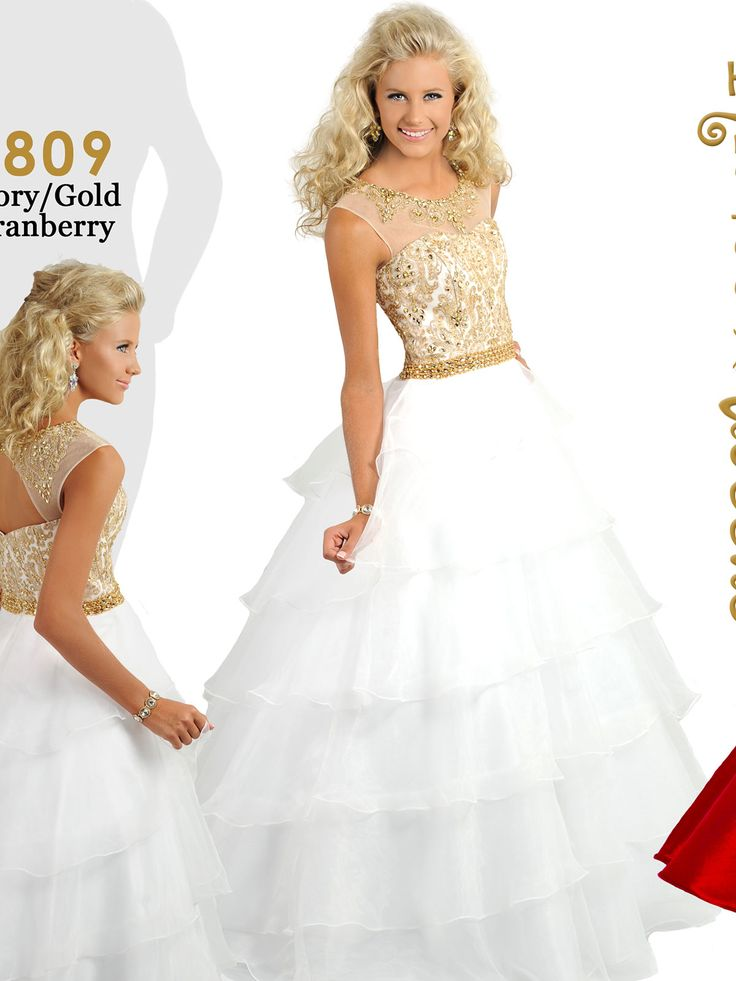 Beauty queen dress white and gold