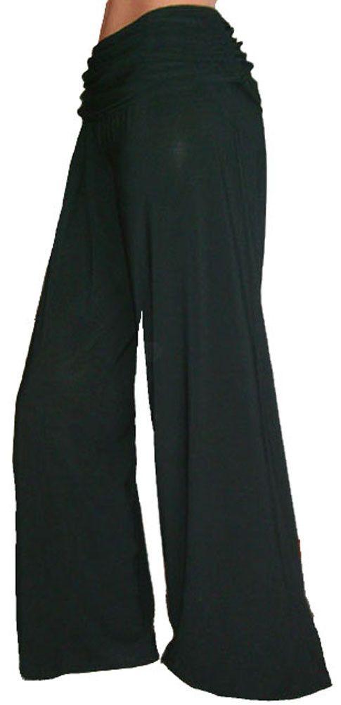 Funfash Plus Size Gaucho Flare Long Black Palazzo Pants Women Plus Size Pants