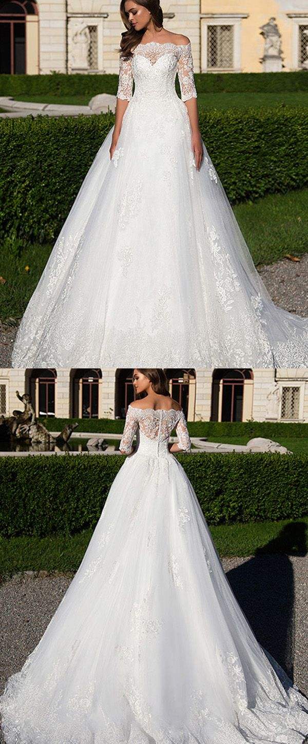 Gorgeous Tulle & Satin Off-the-shoulder Neckline A-Line Wedding Dresses With Beaded Lace Appliques
