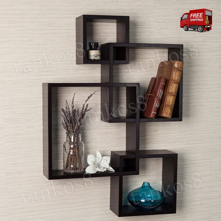 Wall Shelving System Wood Cube Shelves Intersecting Floating Espresso Home Decor | Home & Garden, Home Décor, Wall Shelves | eBay!