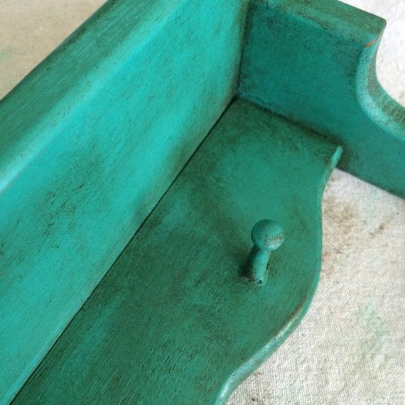 Hand Painted Teal Antiqued Wall Shelf with by SomethingColorful