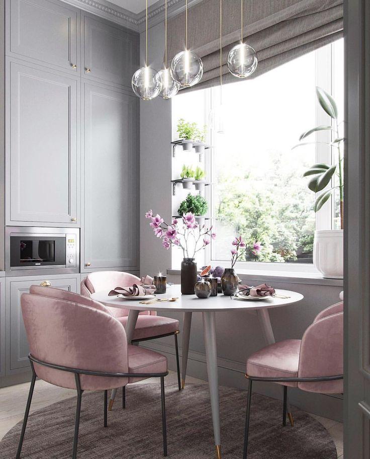 Blush Pink Chairs In Light Gray Dining Room Pantone Ash Rose Rose
