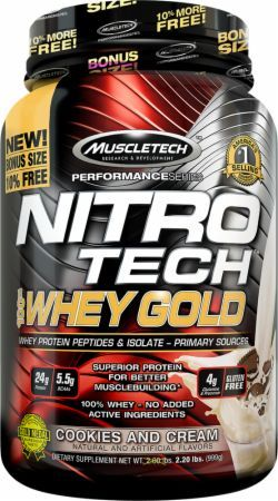 MuscleTech NITRO-TECH 100% Whey Gold Cookies and Cream 2.5 Lbs. MT4450109 Cookies and Cream - Incredible Pure Protein Powder Featuring Whey Protein Peptides And Whey Protein Isolate